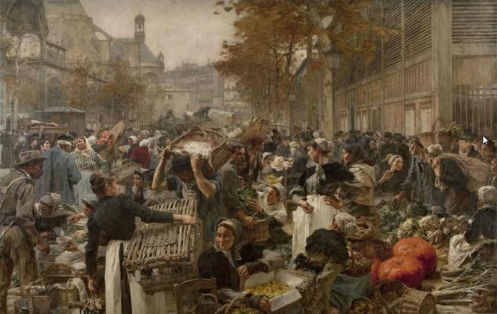 Фотокопия произведения Леона Огюстена Лермитта «Рынок чрево Парижа»