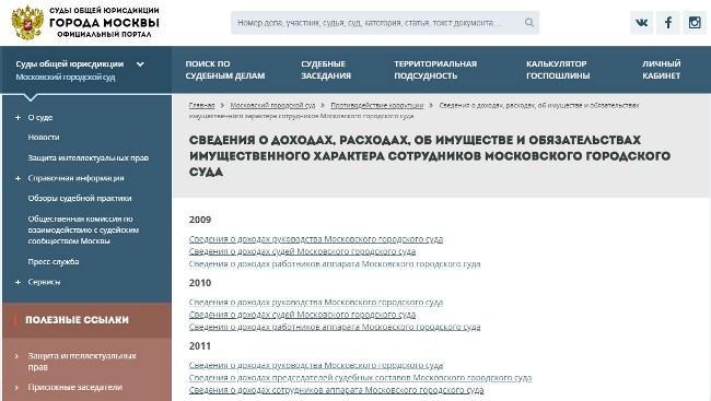 Скриншот страницы портала Мосгорсуда