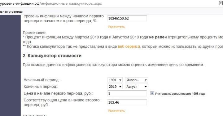 Скриншот страницы сайта «Уровень инфляции»