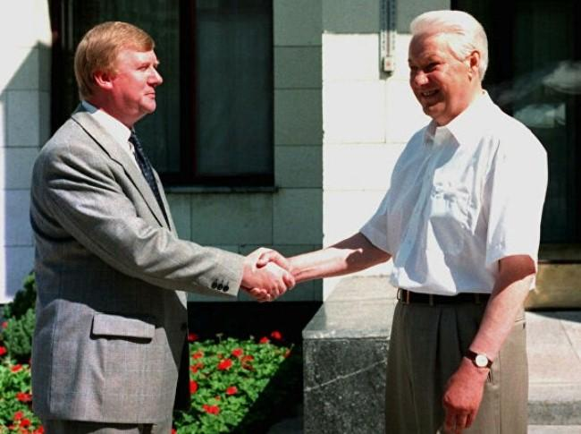 Борис Ельцин и Анатолий Чубайс в санатории Волжский утес, Самарская область