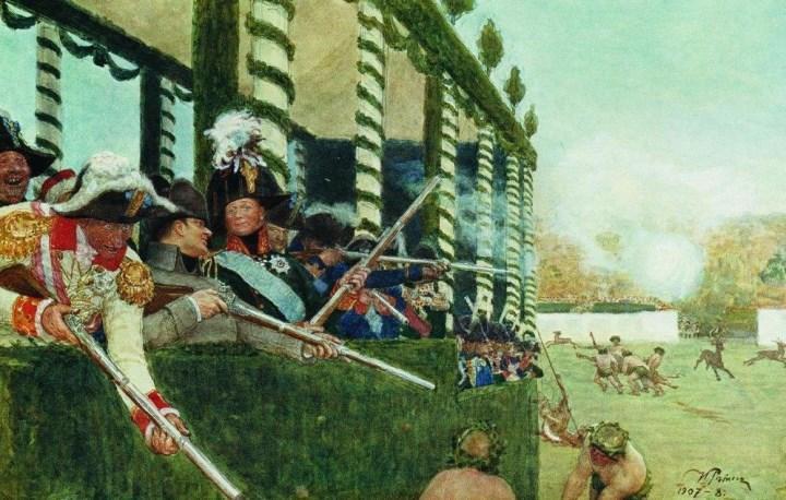 Фотокопия картины Ильи Репина «Александр I и Наполеон на охоте»