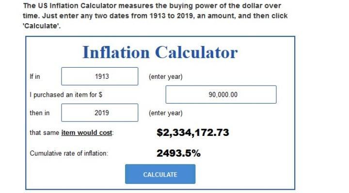 Скриншот с сайта usinflationcalculator