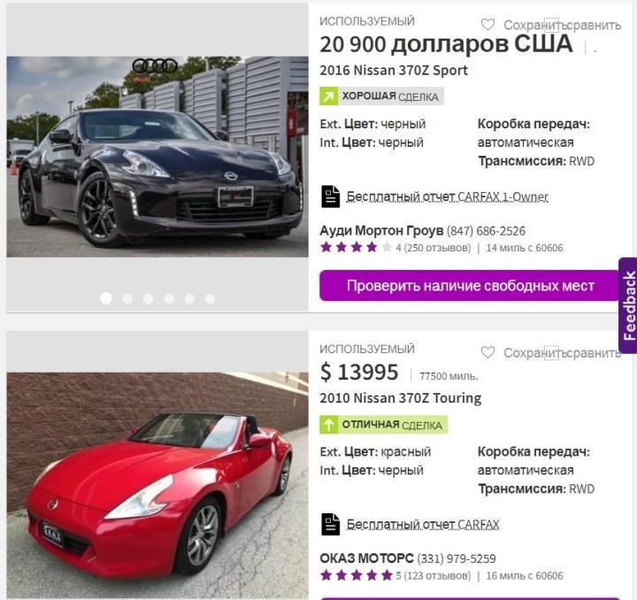 Скриншот электронного аукциона «cars.com» (США)