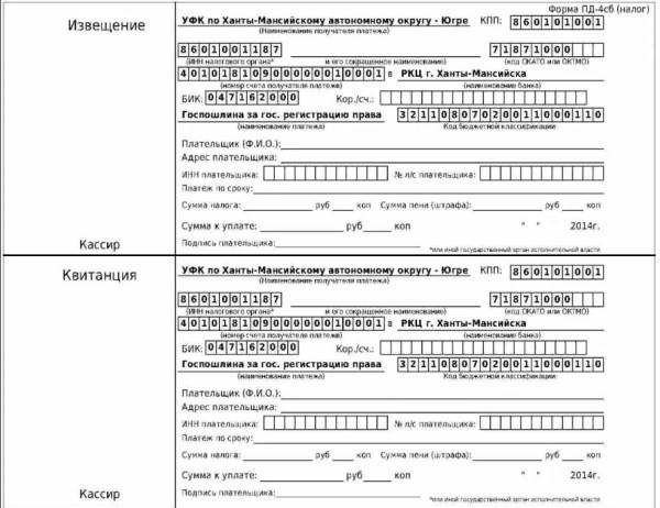 Скриншот образца квитанции