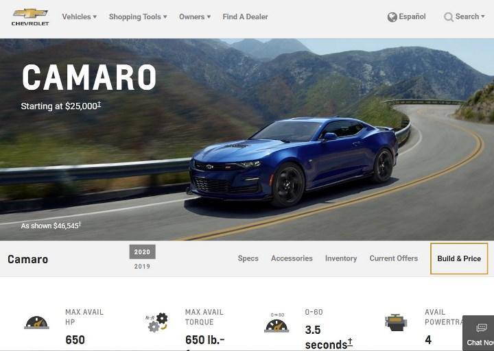 Скриншот страницы сайта chevrolet.com.
