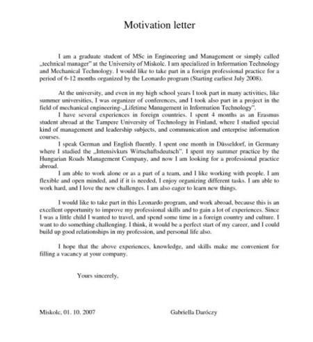 Скрин образца motivation letter