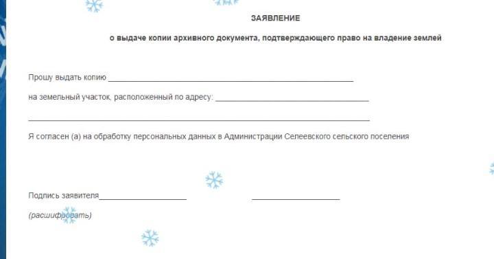 Скриншот заявления в администрацию на примере Селеевского сельского поселения
