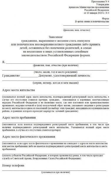 Скрин бланка заявления в ООиП
