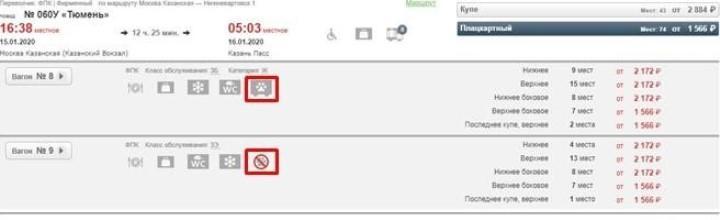 Скриншот с портала РЖД