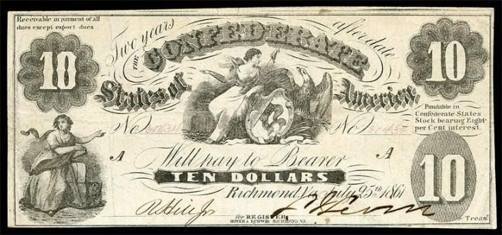 банкноты государственного уровня северных штатов