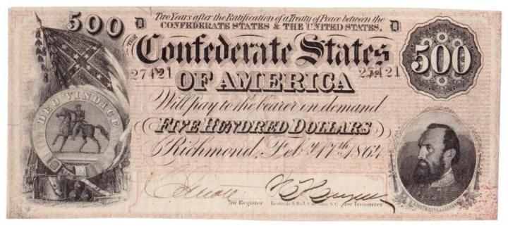 на доллары Конфедерации возлагались огромные надежды