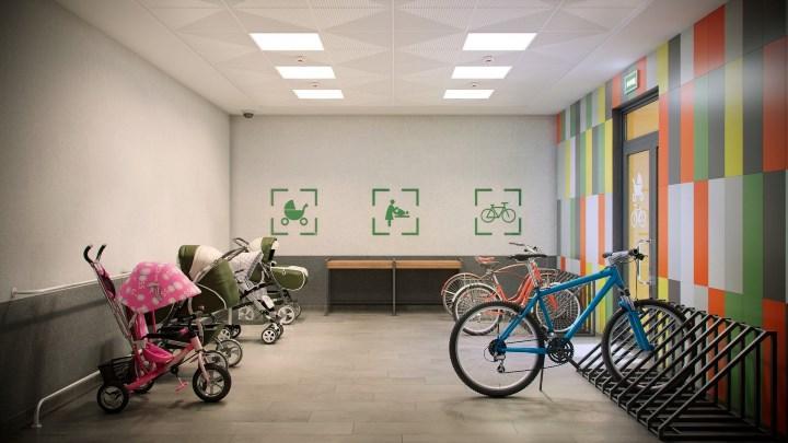 помещение для хранения спортинвентаря и колясок в ЖК «Новый город», г. Стерлитамак.