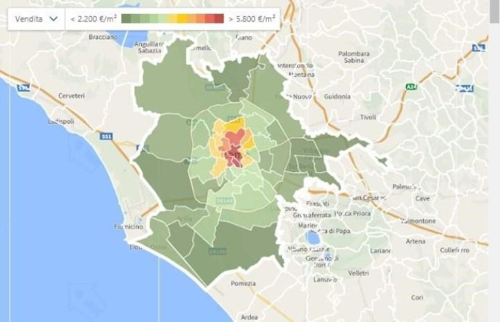 градация цен на недвижимость в Риме