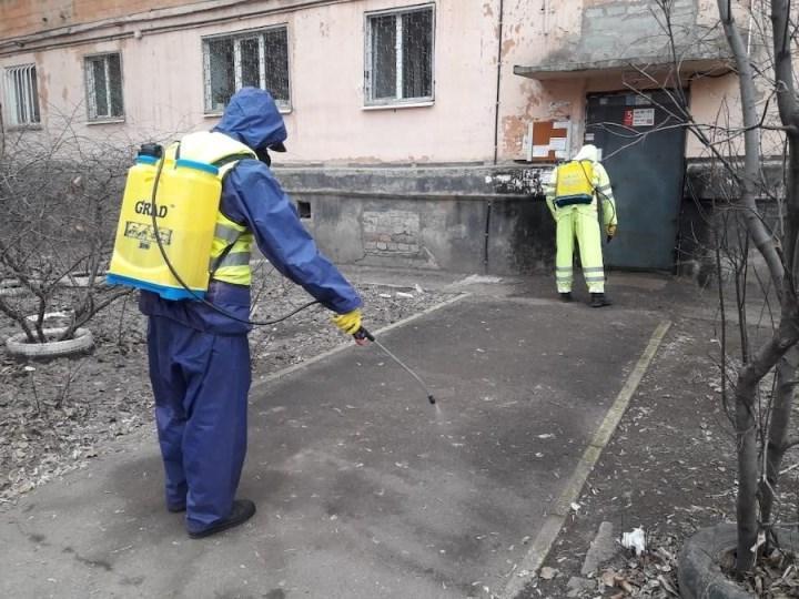 штаб химической обороны задействован на обработке зданий