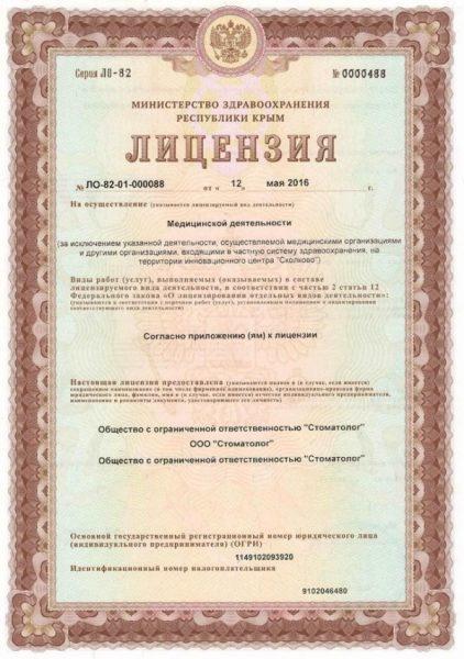 Скрин лицензии
