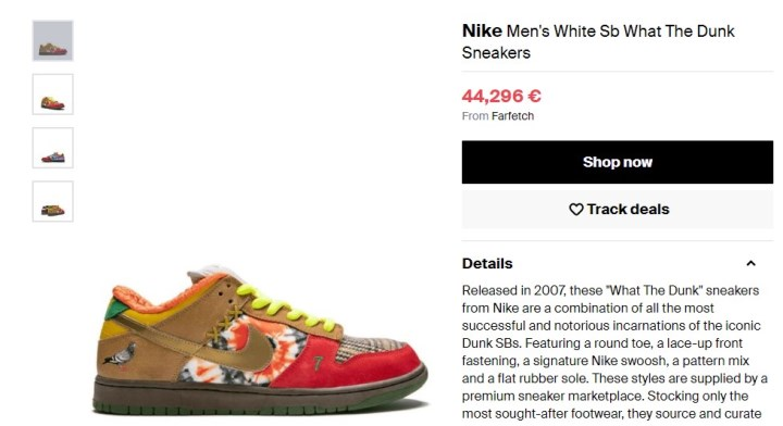 1. Nike Sb What The Dunk, 44 000 €