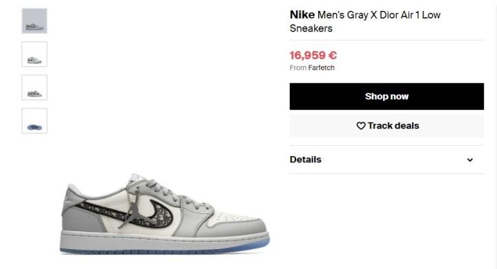 2. Nike Dior x Air Jordan 1, 17 000 €