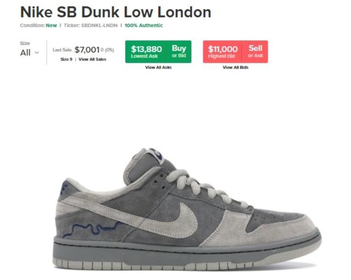3. Nike SB Dunk Low London, 11 000-14 000 $