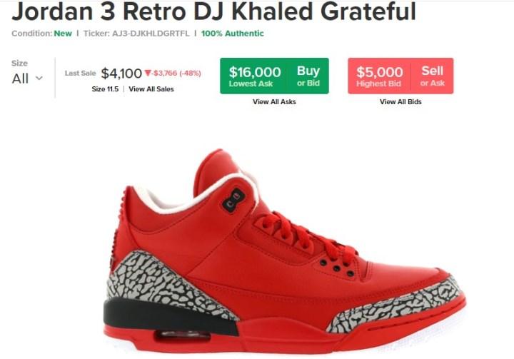 5. Jordan 3 Retro, 5 000-16 000 $