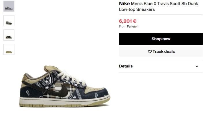 6. Nike Blue X Travis Scott Sb Dunk, 6 200 €