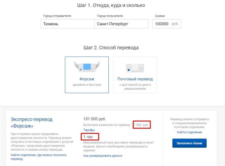 Отправка 100 000 руб. будет стоить